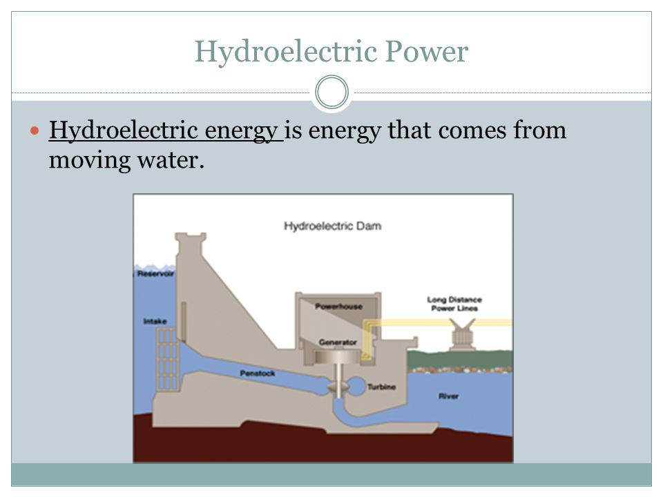 Hydroelectric energy is energy that comes from moving water.