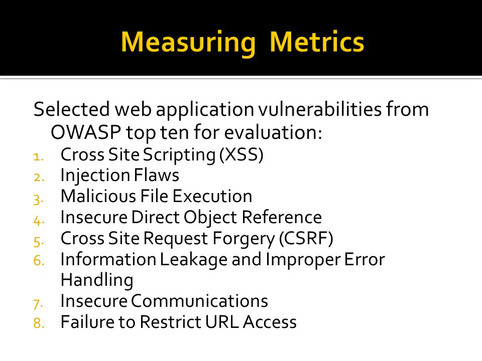 Selected web application vulnerabilities from OWASP top ten for evaluation: 1.