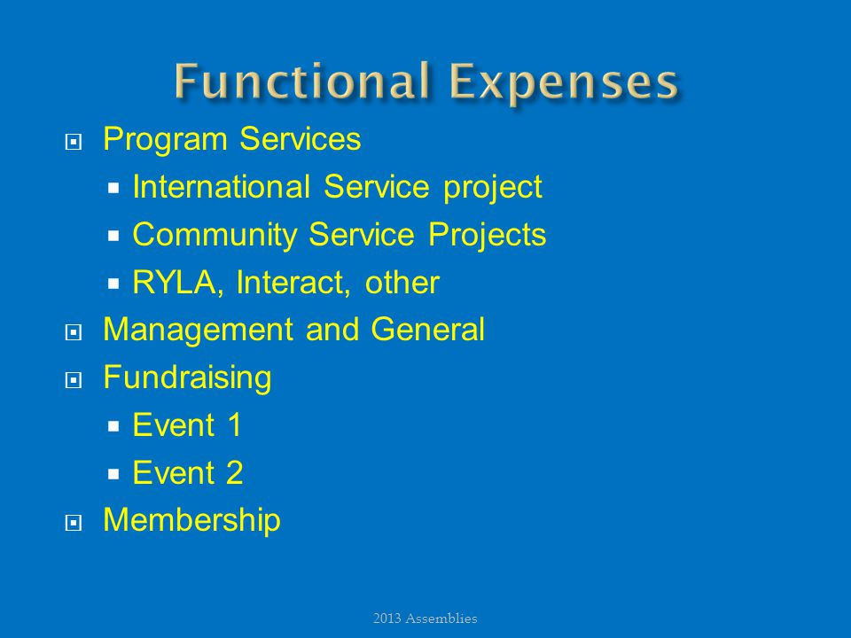  Program Services  International Service project  Community Service Projects  RYLA, Interact, other  Management and General  Fundraising  Event 1  Event 2  Membership 2013 Assemblies