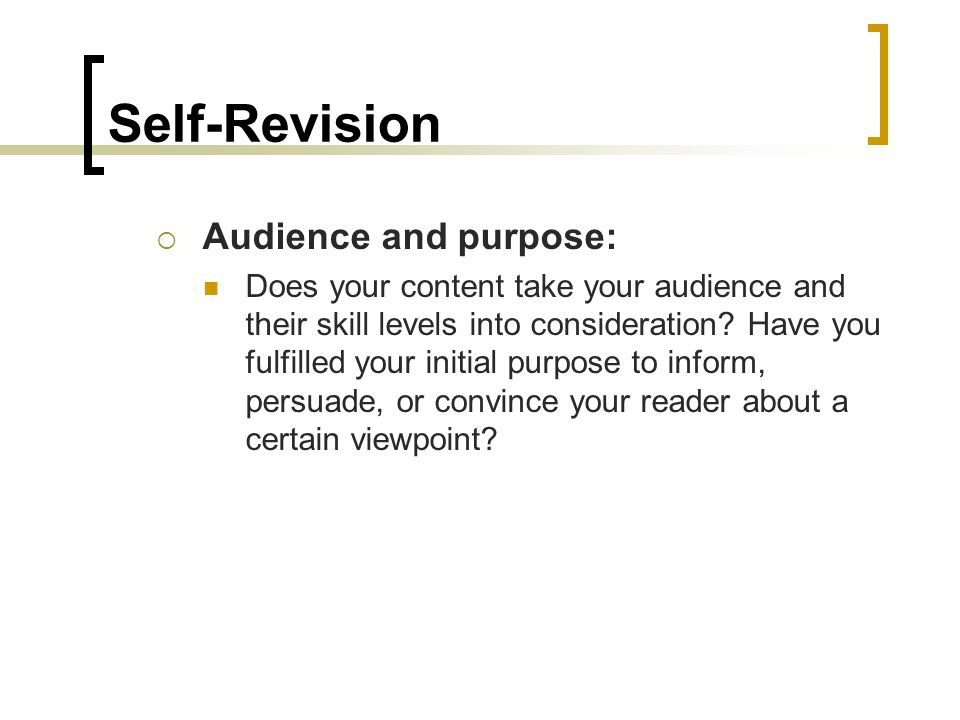 audience and purpose essay Writing for an audience learn how to identify your audience and craft your writing to meet their needs imagine that you recently had a car accident and you were partially responsible.