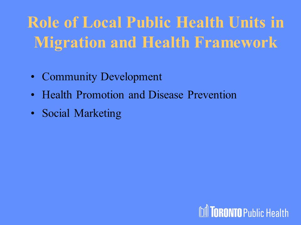 Role of Local Public Health Units in Migration and Health Framework Community Development Health Promotion and Disease Prevention Social Marketing