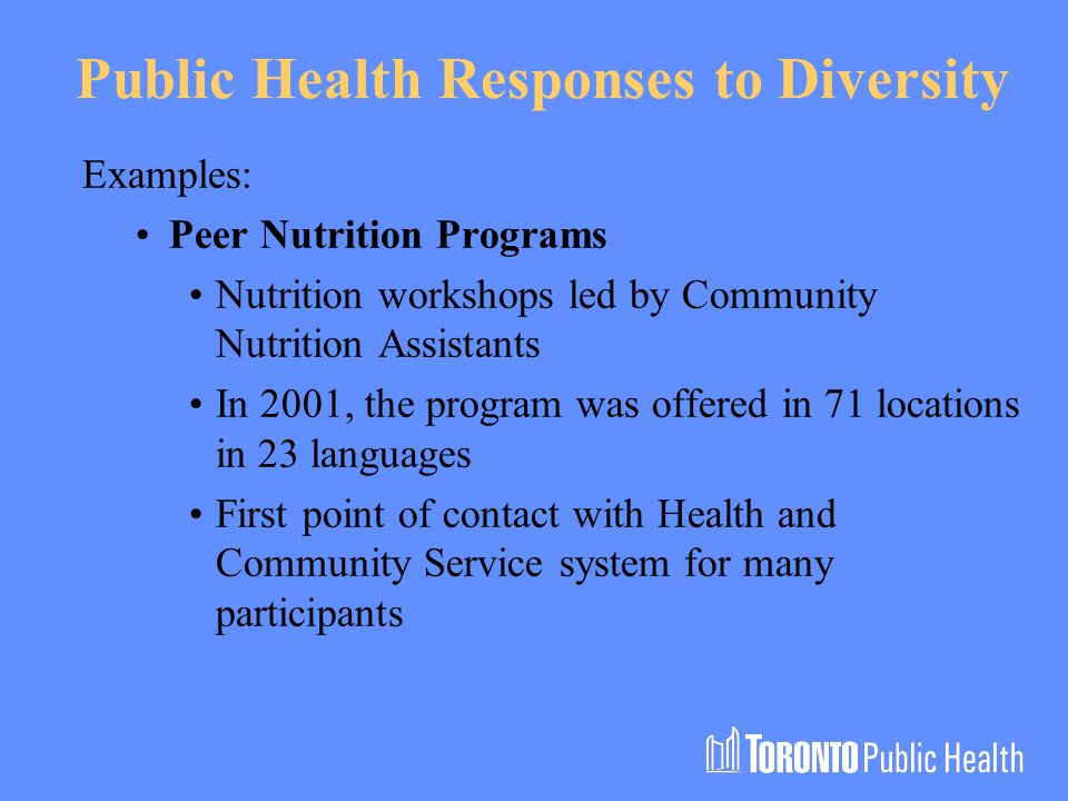 Public Health Responses to Diversity Examples: Peer Nutrition Programs Nutrition workshops led by Community Nutrition Assistants In 2001, the program was offered in 71 locations in 23 languages First point of contact with Health and Community Service system for many participants