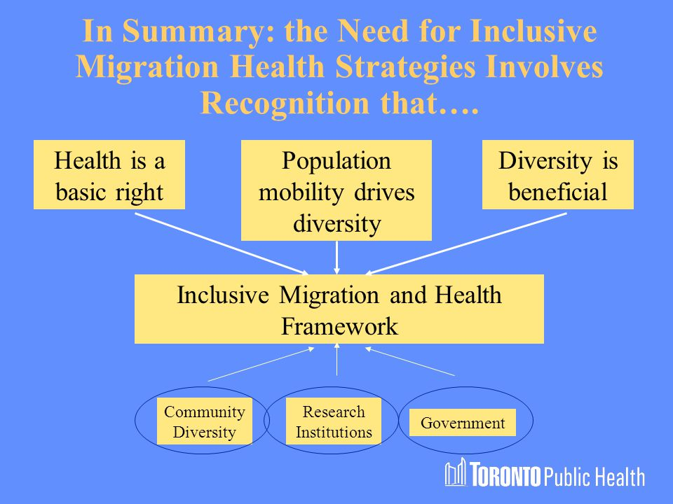 In Summary: the Need for Inclusive Migration Health Strategies Involves Recognition that…..