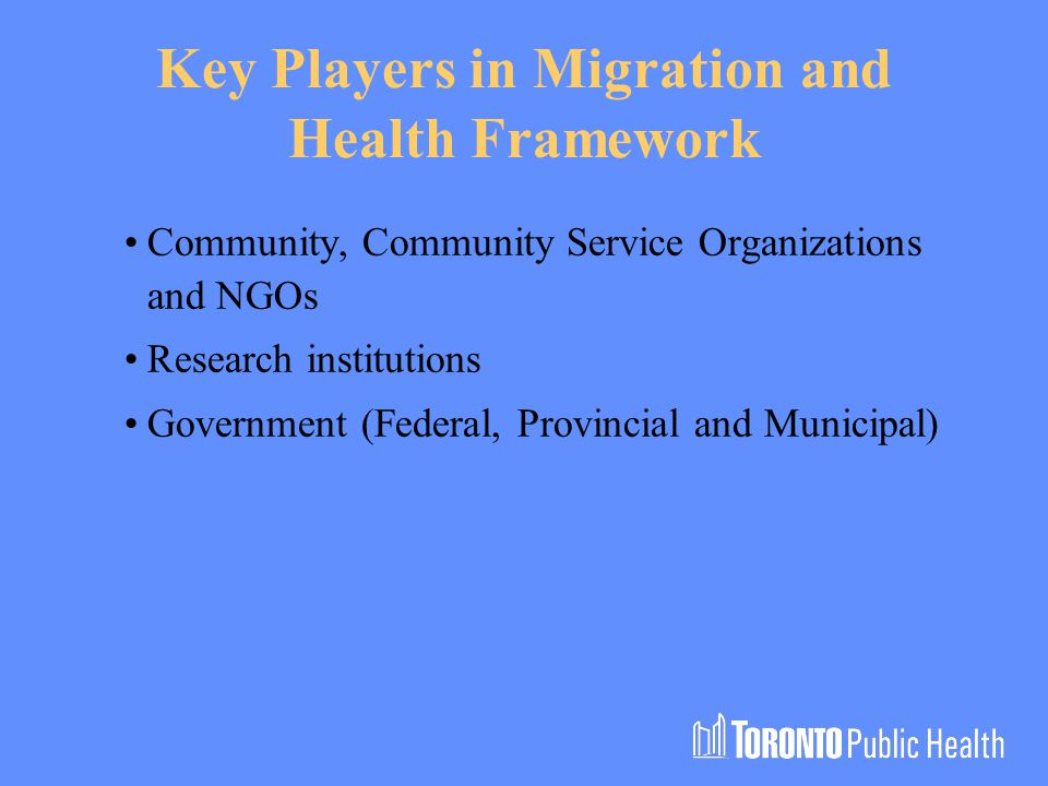 Key Players in Migration and Health Framework Community, Community Service Organizations and NGOs Research institutions Government (Federal, Provincial and Municipal)