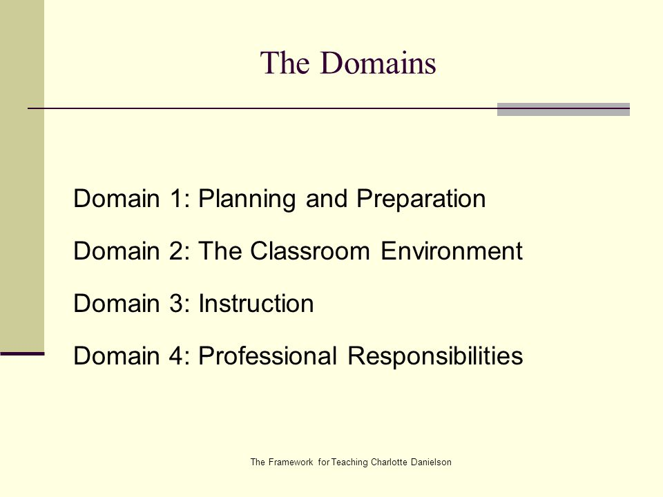 The Framework for Teaching Charlotte Danielson The Domains Domain 1: Planning and Preparation Domain 2: The Classroom Environment Domain 3: Instruction Domain 4: Professional Responsibilities