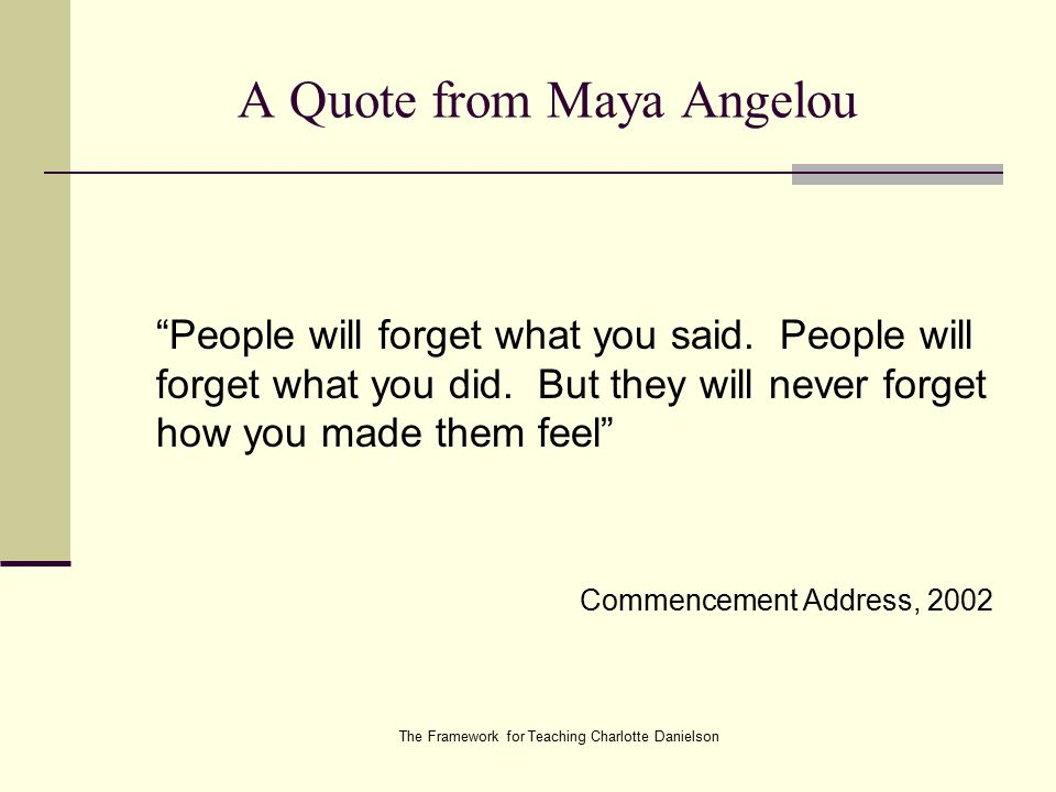 The Framework for Teaching Charlotte Danielson A Quote from Maya Angelou People will forget what you said.