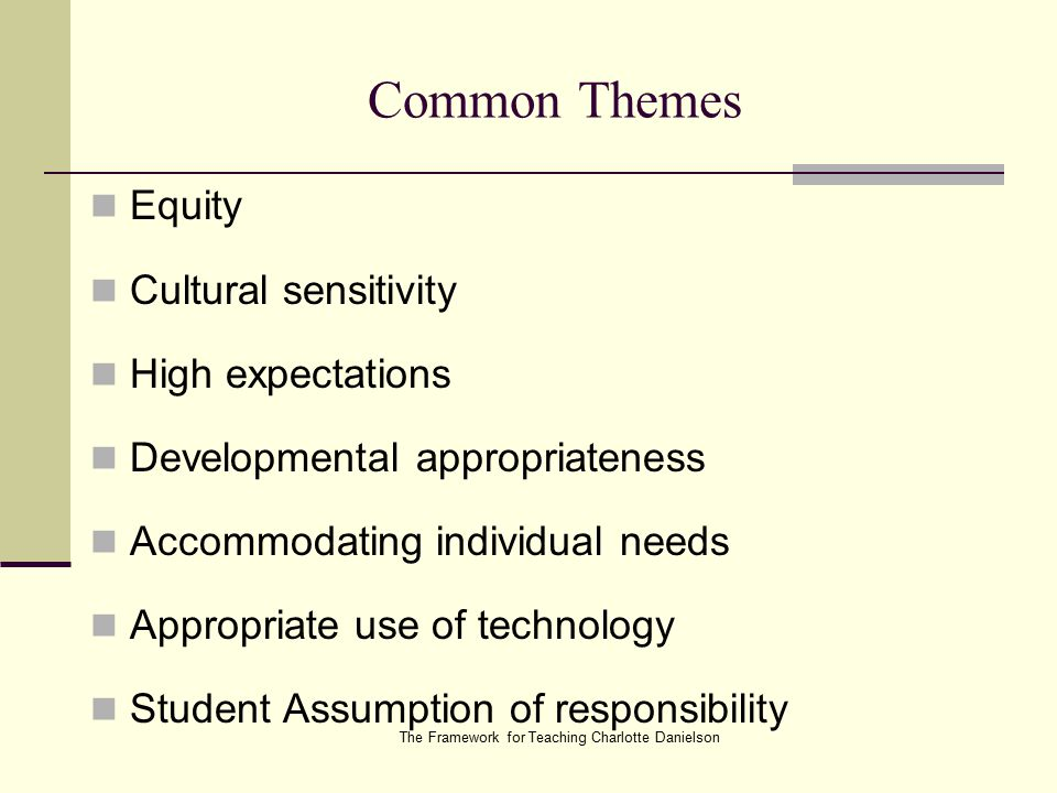 The Framework for Teaching Charlotte Danielson Common Themes Equity Cultural sensitivity High expectations Developmental appropriateness Accommodating individual needs Appropriate use of technology Student Assumption of responsibility
