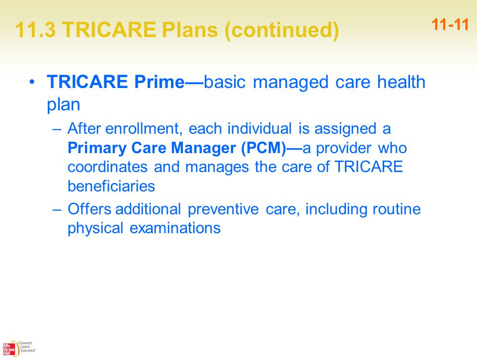 11.3 TRICARE Plans (continued) TRICARE Prime—basic managed care health plan –After enrollment, each individual is assigned a Primary Care Manager (PCM)—a provider who coordinates and manages the care of TRICARE beneficiaries –Offers additional preventive care, including routine physical examinations