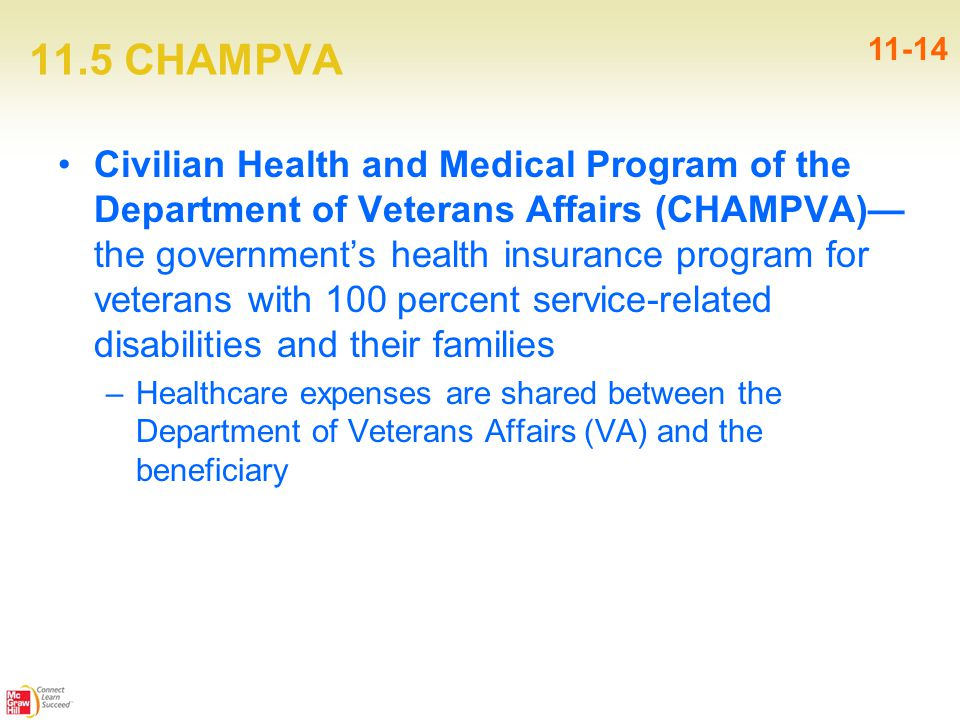 11.5 CHAMPVA Civilian Health and Medical Program of the Department of Veterans Affairs (CHAMPVA)— the government's health insurance program for veterans with 100 percent service-related disabilities and their families –Healthcare expenses are shared between the Department of Veterans Affairs (VA) and the beneficiary