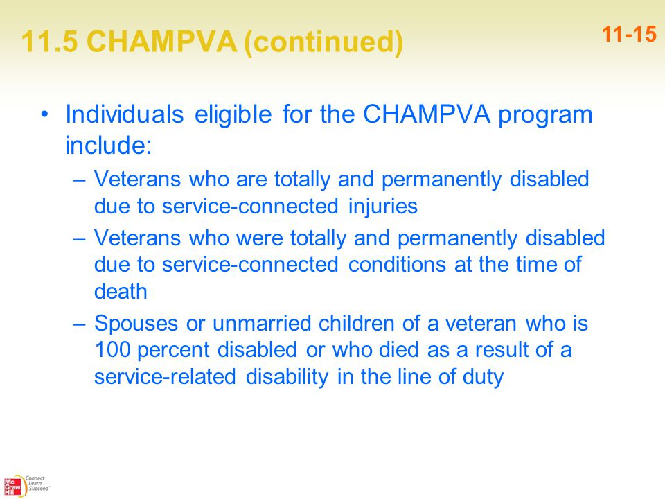 11.5 CHAMPVA (continued) Individuals eligible for the CHAMPVA program include: –Veterans who are totally and permanently disabled due to service-connected injuries –Veterans who were totally and permanently disabled due to service-connected conditions at the time of death –Spouses or unmarried children of a veteran who is 100 percent disabled or who died as a result of a service-related disability in the line of duty