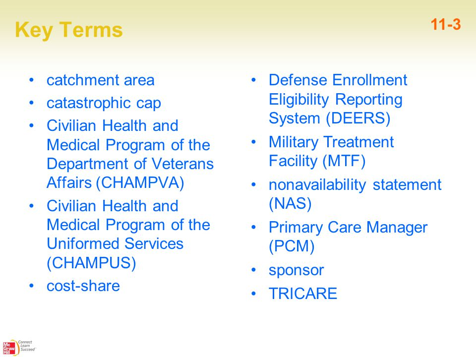Key Terms catchment area catastrophic cap Civilian Health and Medical Program of the Department of Veterans Affairs (CHAMPVA) Civilian Health and Medical Program of the Uniformed Services (CHAMPUS) cost-share 11-3 Defense Enrollment Eligibility Reporting System (DEERS) Military Treatment Facility (MTF) nonavailability statement (NAS) Primary Care Manager (PCM) sponsor TRICARE
