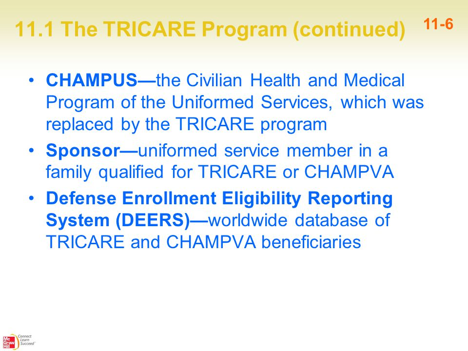 11.1 The TRICARE Program (continued) 11-6 CHAMPUS—the Civilian Health and Medical Program of the Uniformed Services, which was replaced by the TRICARE program Sponsor—uniformed service member in a family qualified for TRICARE or CHAMPVA Defense Enrollment Eligibility Reporting System (DEERS)—worldwide database of TRICARE and CHAMPVA beneficiaries