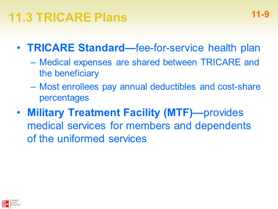 11.3 TRICARE Plans 11-9 TRICARE Standard—fee-for-service health plan –Medical expenses are shared between TRICARE and the beneficiary –Most enrollees pay annual deductibles and cost-share percentages Military Treatment Facility (MTF)—provides medical services for members and dependents of the uniformed services