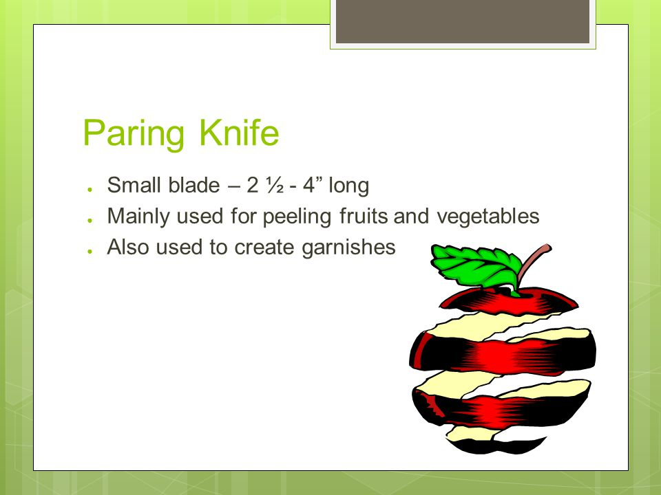 Paring Knife ● Small blade – 2 ½ - 4 long ● Mainly used for peeling fruits and vegetables ● Also used to create garnishes