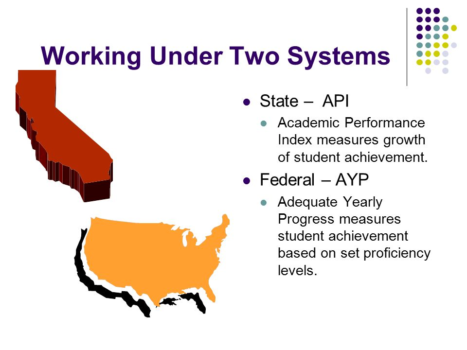 Working Under Two Systems State – API Academic Performance Index measures growth of student achievement.