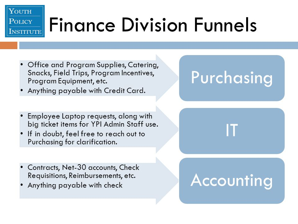 Finance Division Funnels Office and Program Supplies, Catering, Snacks, Field Trips, Program Incentives, Program Equipment, etc.
