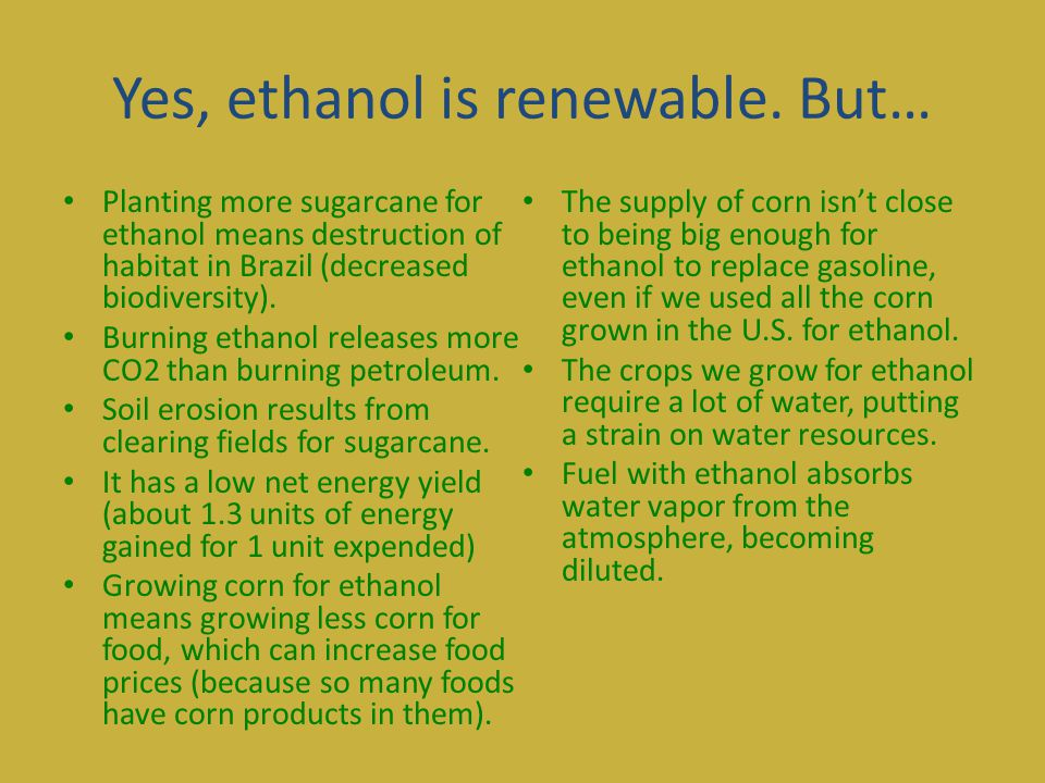 Yes Ethanol Is Renewable But Planting More Sugarcane For Ethanol