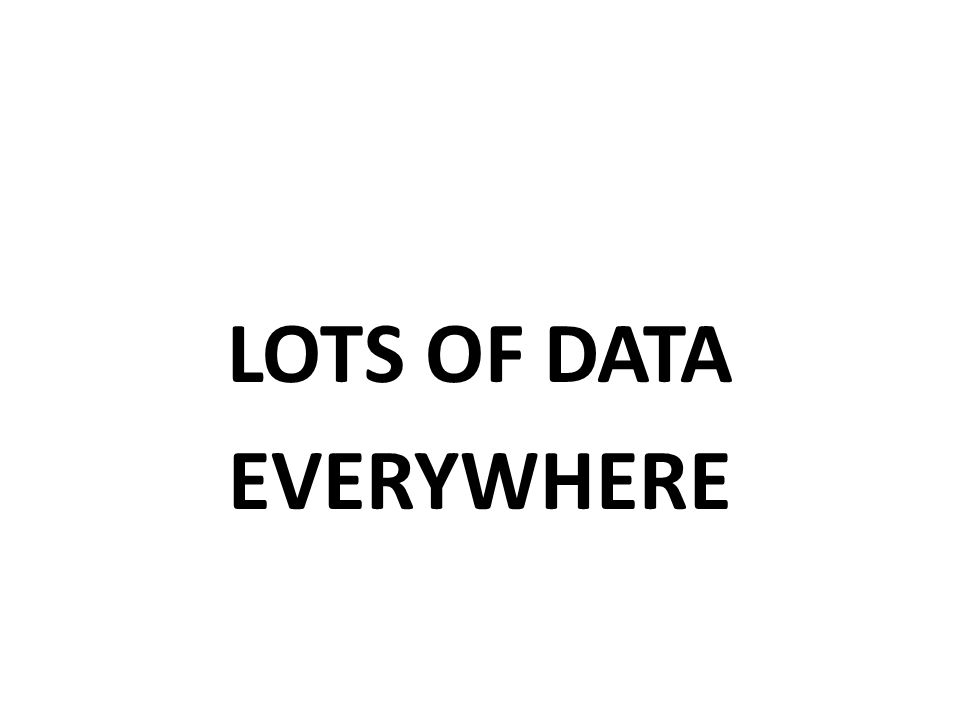 LOTS OF DATA EVERYWHERE