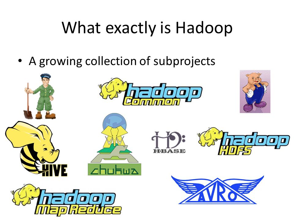 What exactly is Hadoop A growing collection of subprojects