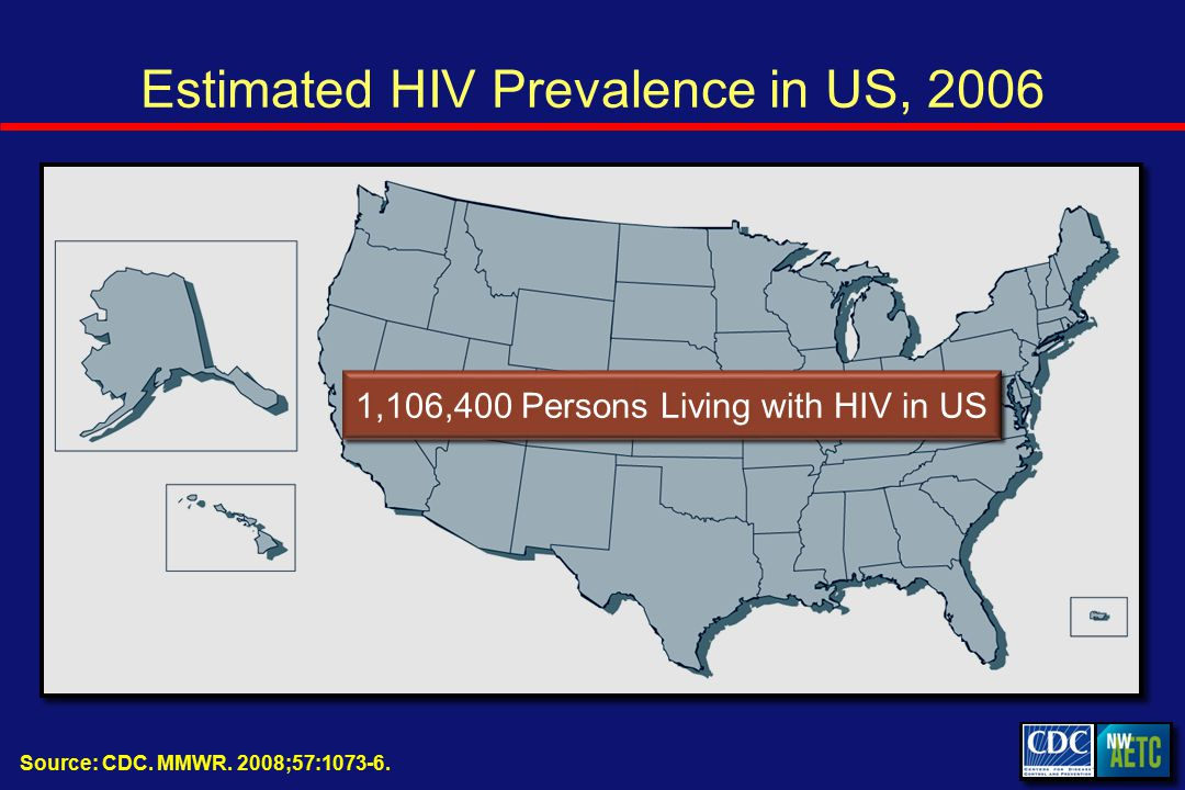 Estimated HIV Prevalence in US, 2006 Source: CDC. MMWR.