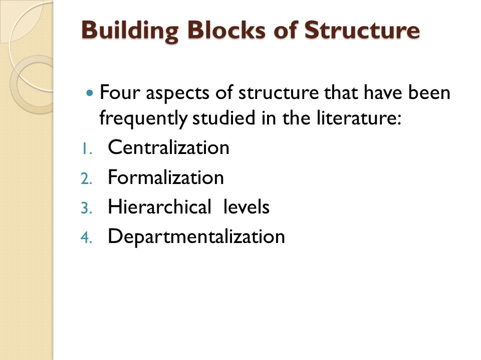 Building Blocks of Structure Four aspects of structure that have been frequently studied in the literature: 1.