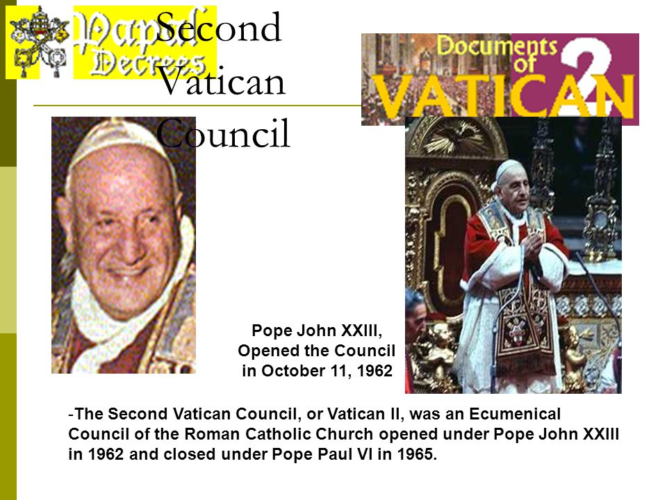 Image result for the second vatican council opened in 1962