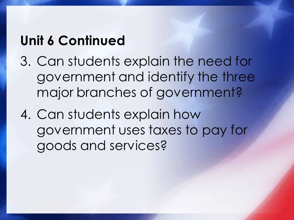 Unit 6 Continued 3.Can students explain the need for government and identify the three major branches of government.