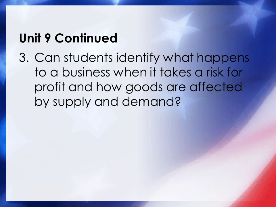 Unit 9 Continued 3.Can students identify what happens to a business when it takes a risk for profit and how goods are affected by supply and demand