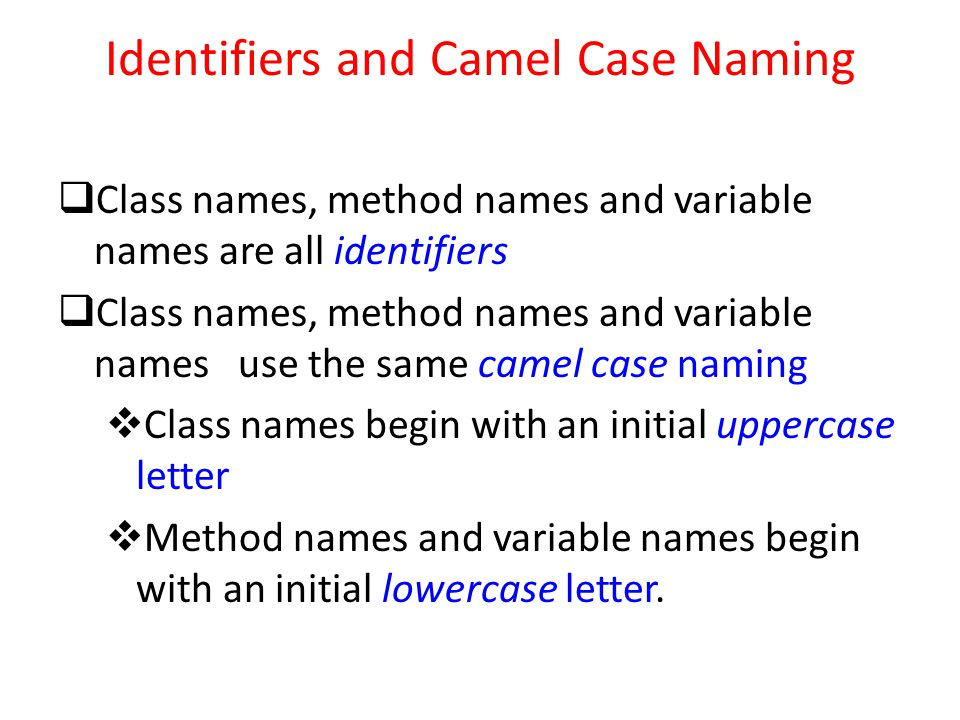 Identifiers and Camel Case Naming  Class names, method names and variable names are all identifiers  Class names, method names and variable names use the same camel case naming  Class names begin with an initial uppercase letter  Method names and variable names begin with an initial lowercase letter.