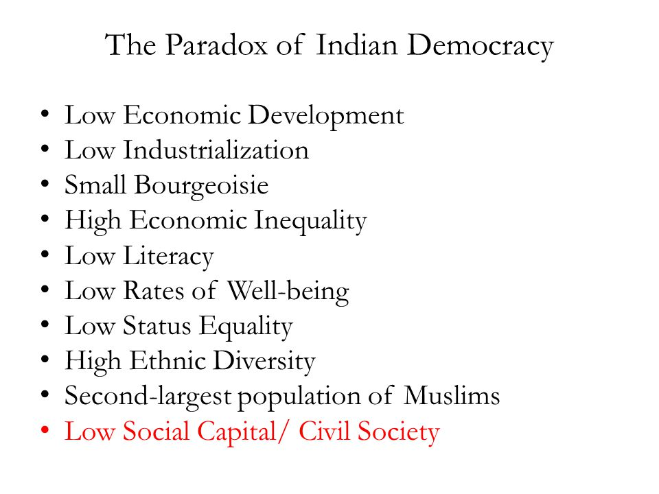 The Paradox of Indian Democracy Low Economic Development Low Industrialization Small Bourgeoisie High Economic Inequality Low Literacy Low Rates of Well-being Low Status Equality High Ethnic Diversity Second-largest population of Muslims Low Social Capital/ Civil Society