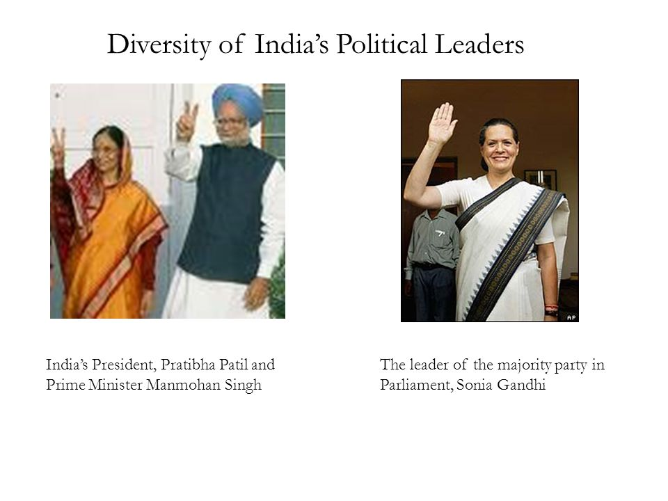 India's President, Pratibha Patil and Prime Minister Manmohan Singh The leader of the majority party in Parliament, Sonia Gandhi Diversity of India's Political Leaders