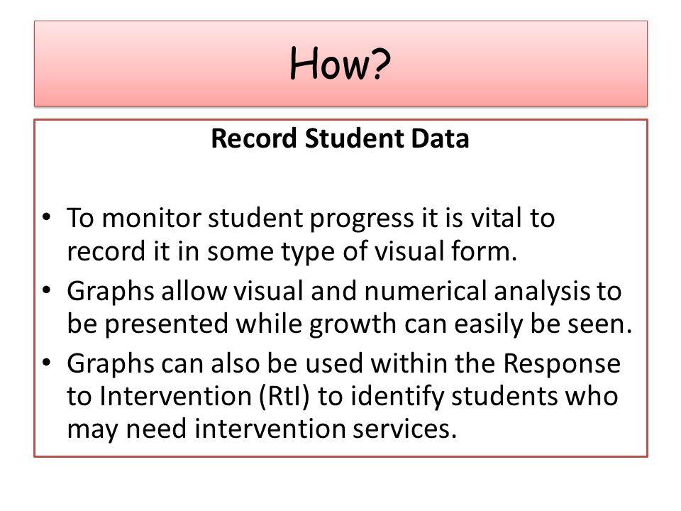 Record Student Data To monitor student progress it is vital to record it in some type of visual form.