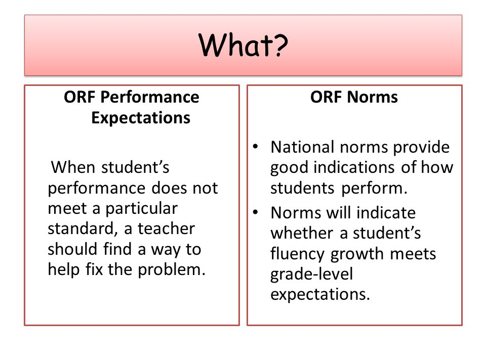 ORF Performance Expectations When student's performance does not meet a particular standard, a teacher should find a way to help fix the problem.