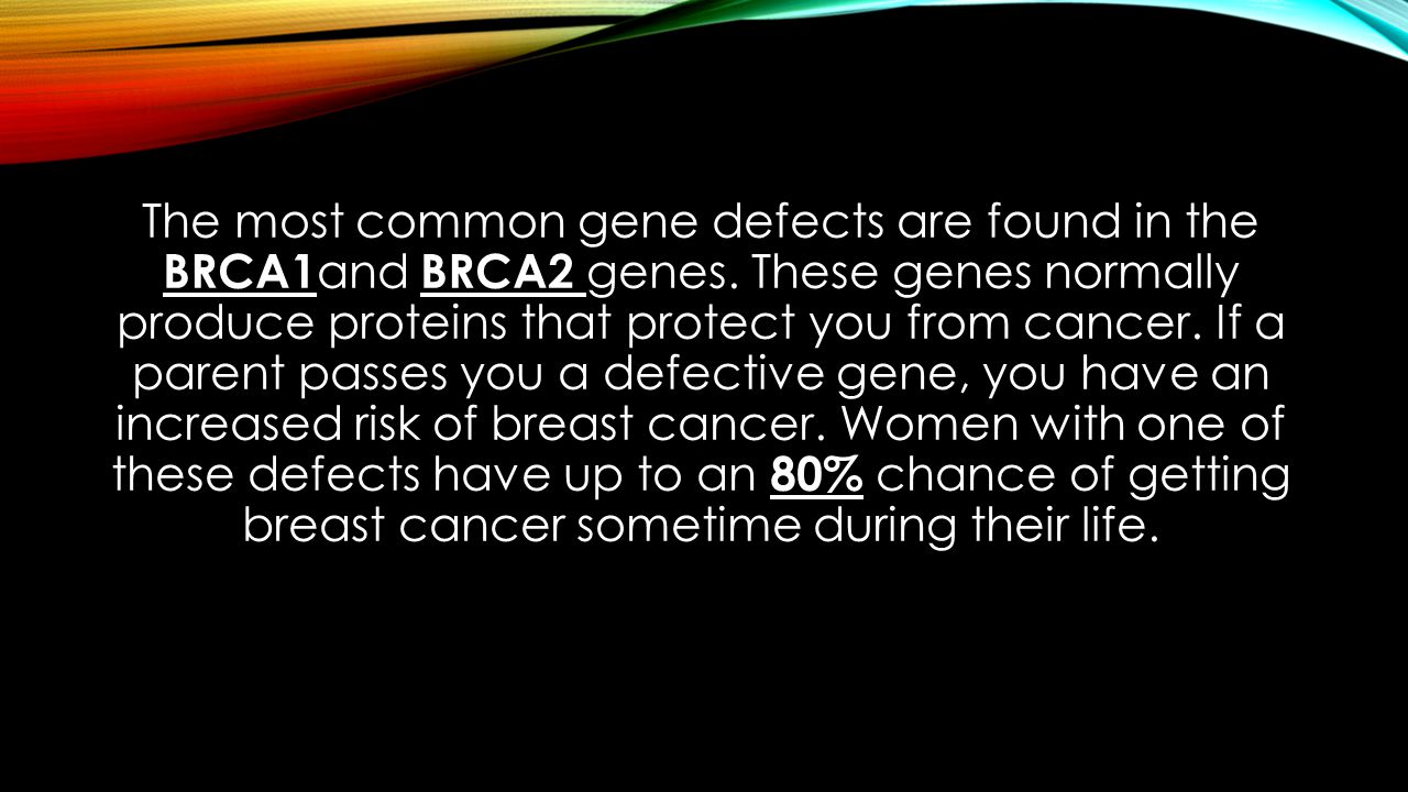 The most common gene defects are found in the BRCA1 and BRCA2 genes.