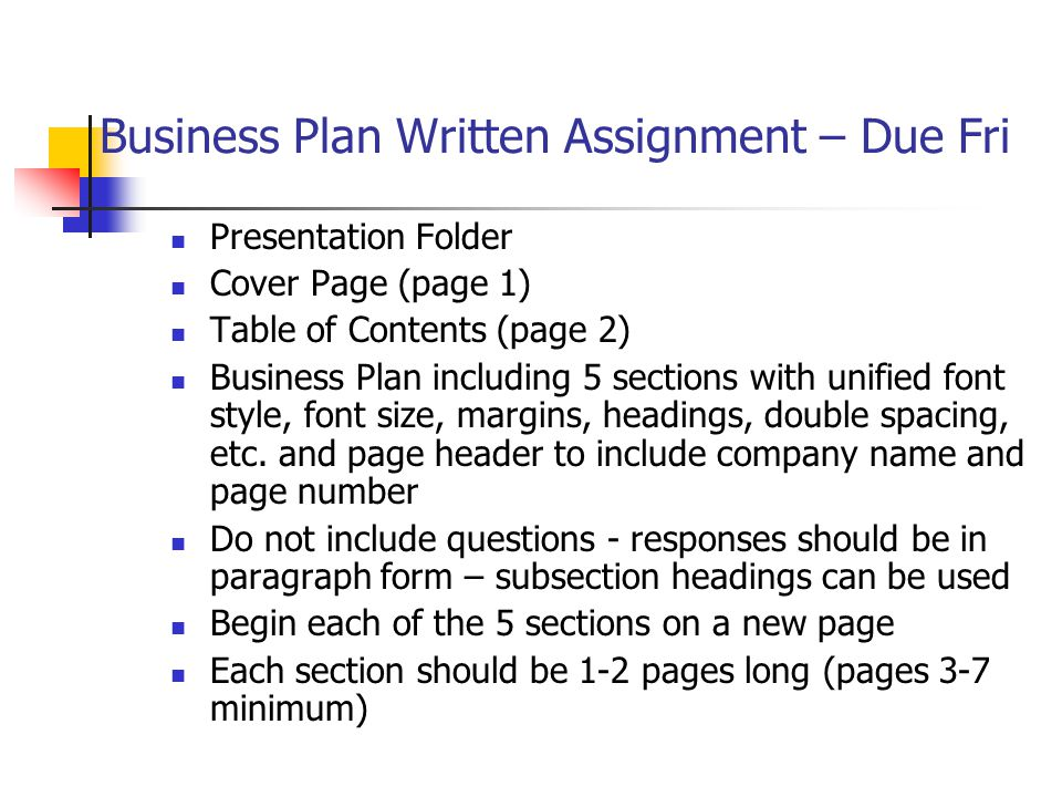 creating a professional business plan based on chapter 5