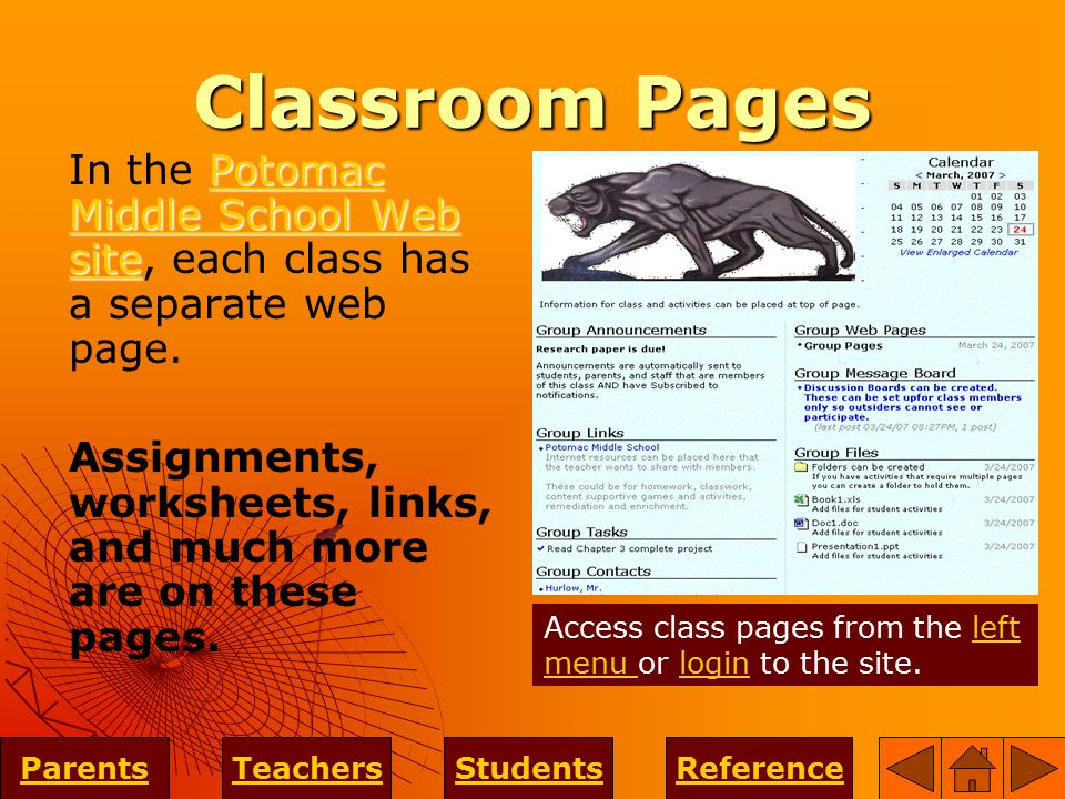 Classroom Pages Potomac Middle School Web site Potomac Middle School Web site In the Potomac Middle School Web site, each class has a separate web page.Potomac Middle School Web site Assignments, worksheets, links, and much more are on these pages.