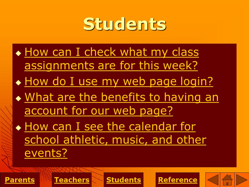 Students  How can I check what my class assignments are for this week.