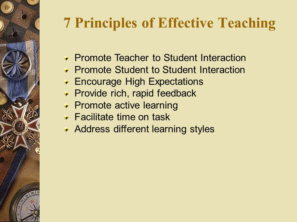 7 Principles of Effective Teaching Promote Teacher to Student Interaction Promote Student to Student Interaction Encourage High Expectations Provide rich, rapid feedback Promote active learning Facilitate time on task Address different learning styles