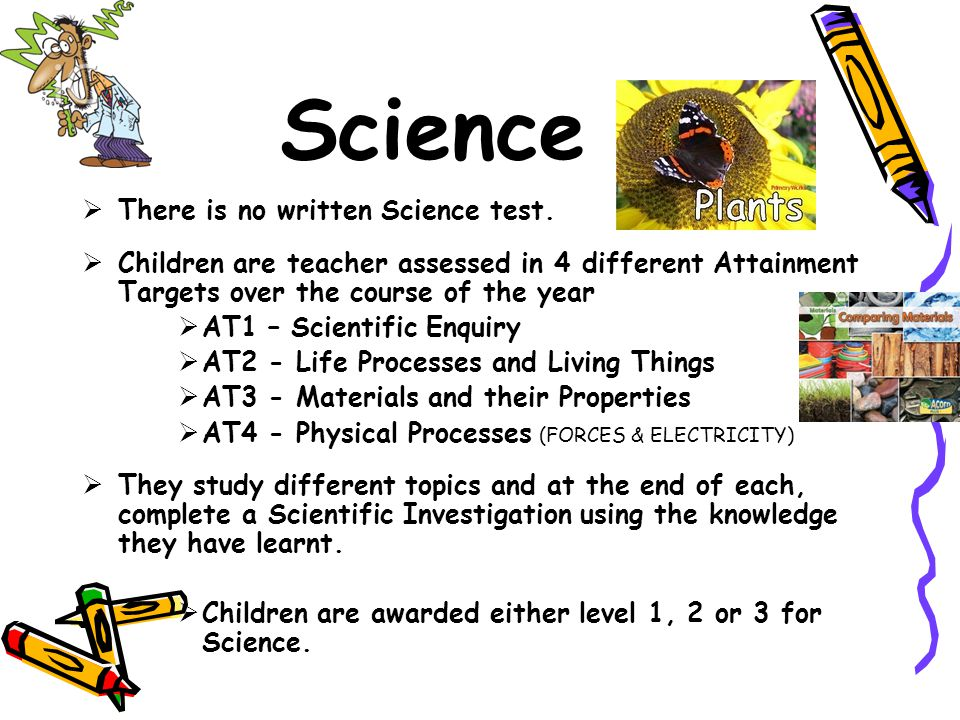 Science  There is no written Science test.