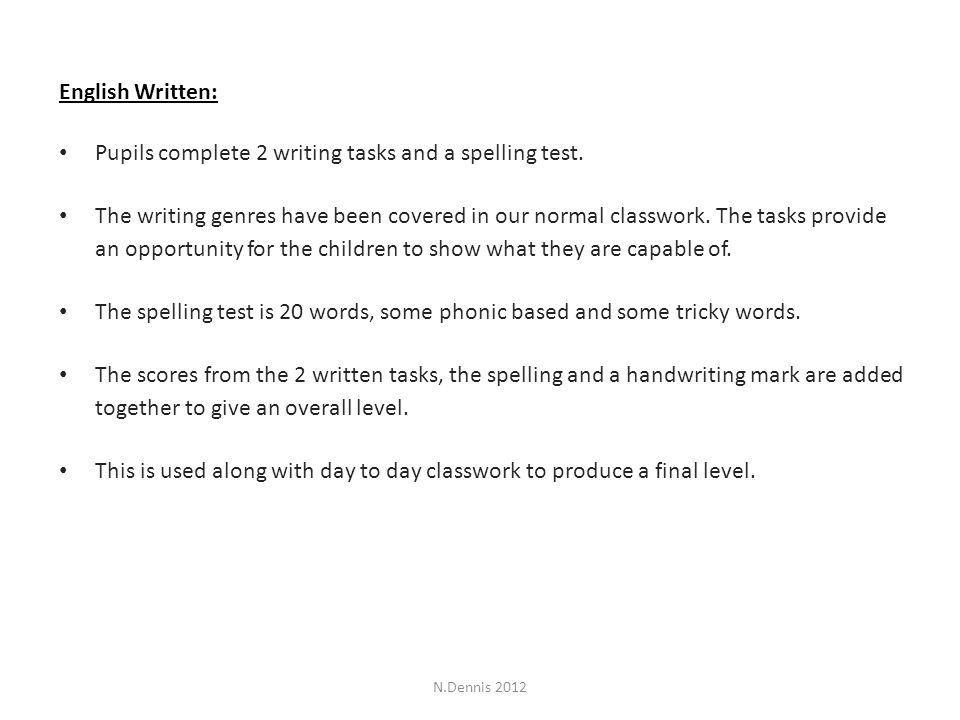 English Written: Pupils complete 2 writing tasks and a spelling test.