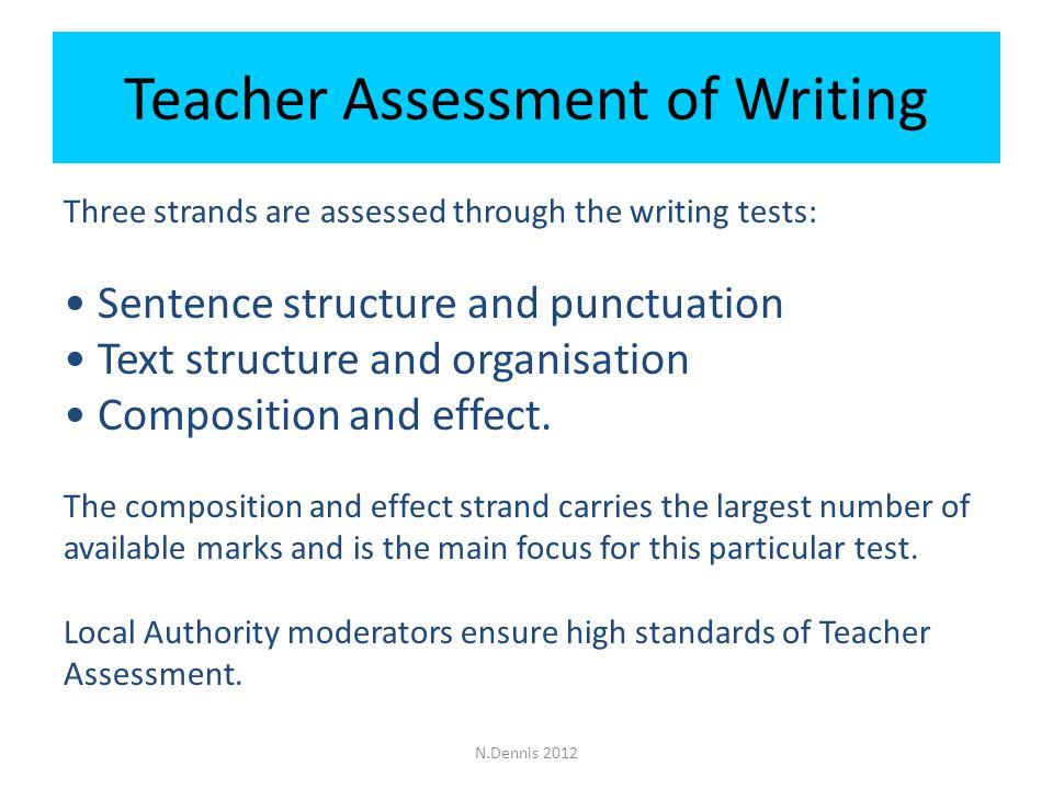Teacher Assessment of Writing Three strands are assessed through the writing tests: Sentence structure and punctuation Text structure and organisation Composition and effect.