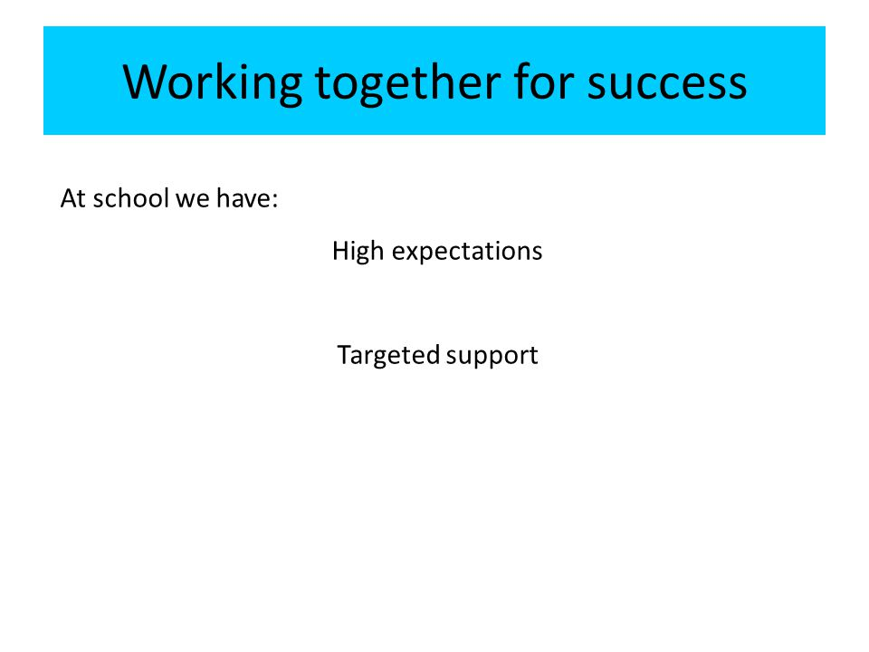 Working together for success At school we have: High expectations Targeted support