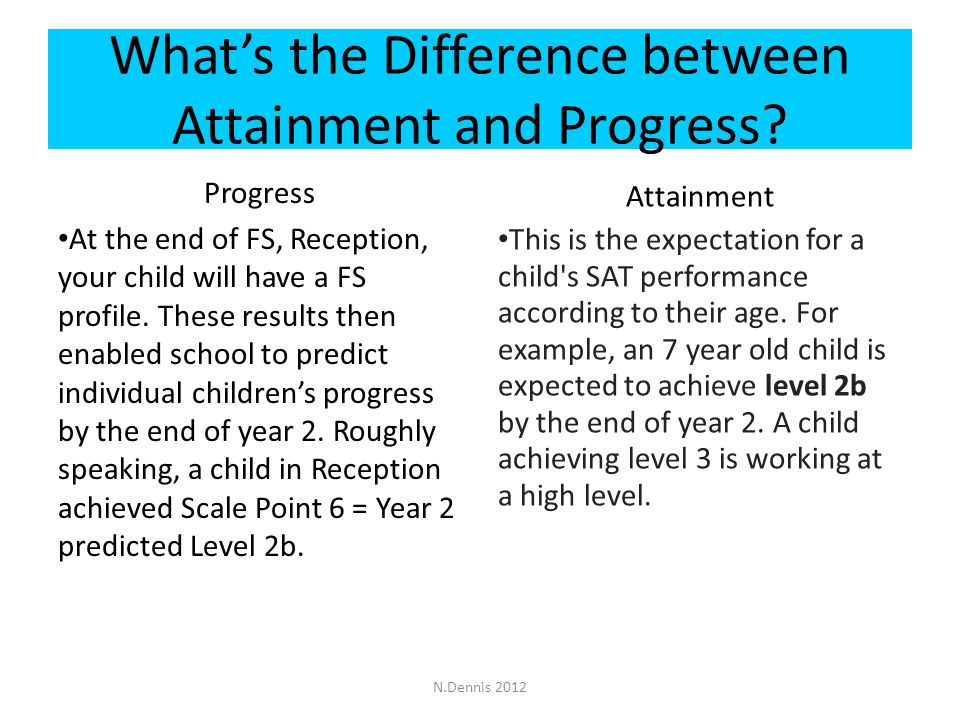 What's the Difference between Attainment and Progress.
