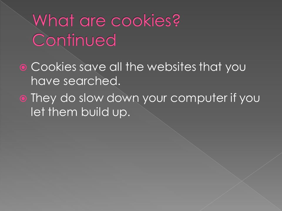  Cookies save all the websites that you have searched.