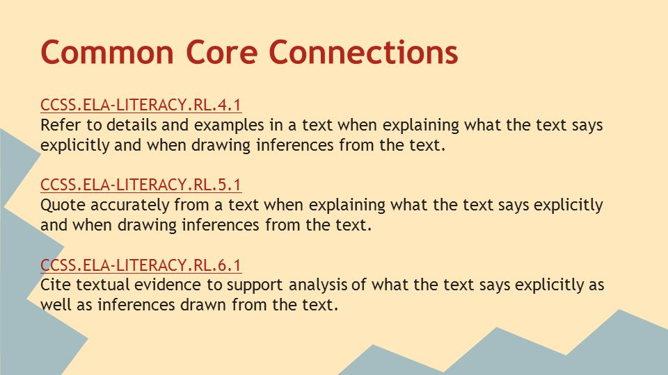 Common Core Connections CCSS.ELA-LITERACY.RL.4.1 Refer to details and examples in a text when explaining what the text says explicitly and when drawing inferences from the text.