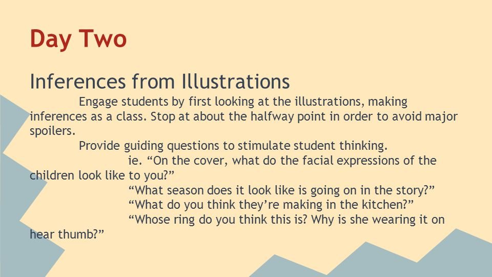 Day Two Inferences from Illustrations Engage students by first looking at the illustrations, making inferences as a class.