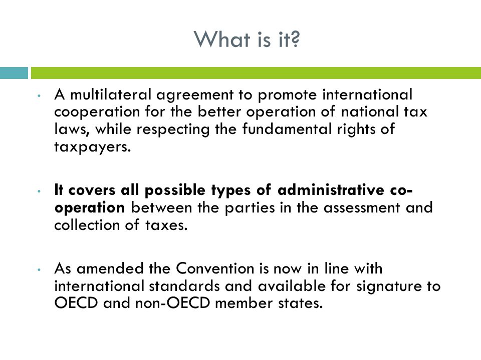 Oecd Multilateral Convention On Mutual Administrative Assistance In