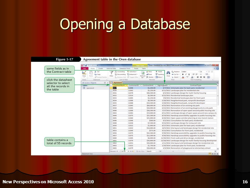 Opening a Database New Perspectives on Microsoft Access