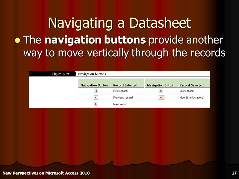 Navigating a Datasheet The navigation buttons provide another way to move vertically through the records The navigation buttons provide another way to move vertically through the records New Perspectives on Microsoft Access