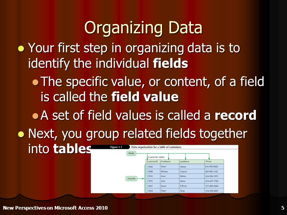 Organizing Data Your first step in organizing data is to identify the individual fields Your first step in organizing data is to identify the individual fields The specific value, or content, of a field is called the field value The specific value, or content, of a field is called the field value A set of field values is called a record A set of field values is called a record Next, you group related fields together into tables Next, you group related fields together into tables New Perspectives on Microsoft Access 20105
